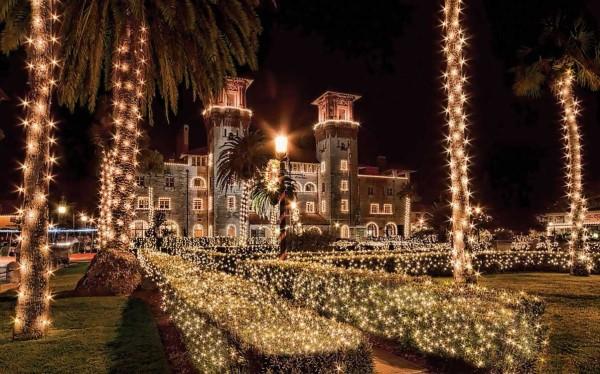 Best holiday lights in Florida: Lightner Museum decorated during St. Augustine Nights of Lights (Photo courtesy FloridasHistoricCoast.com.)