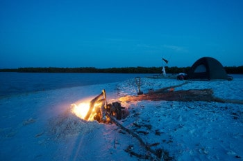 Camp fire in the Ten Thousand Islands.
