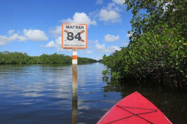 A marker for the Great Calusa Blueway near Matlacha.