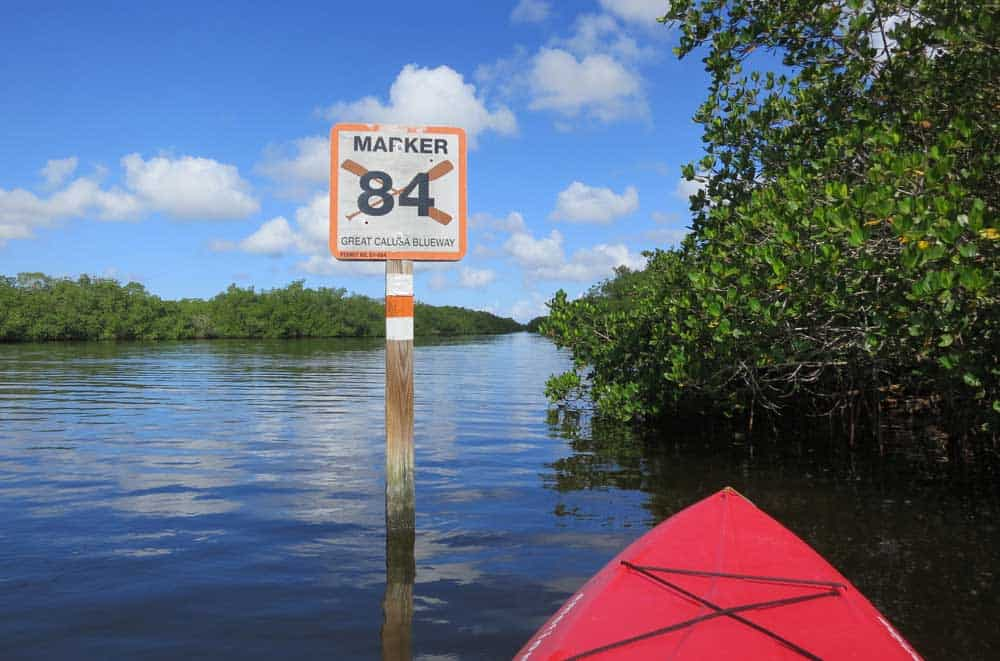 A marker for the Great Calusa Blueway near Matlacha FL.