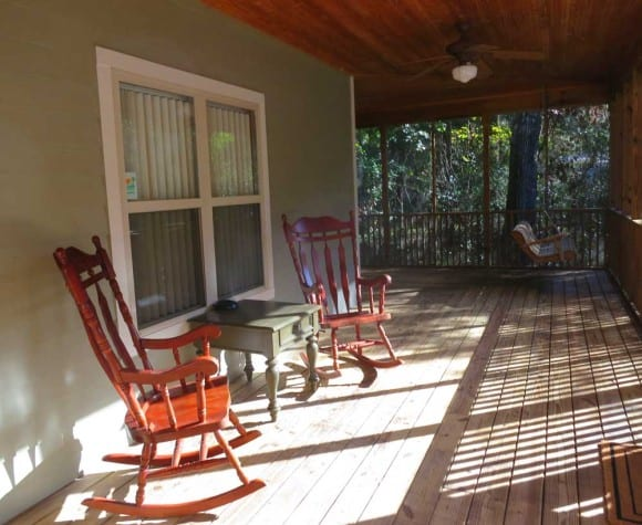The large and inviting screen porch on the cabins at Fanning Springs State Park on the Suwanee River.