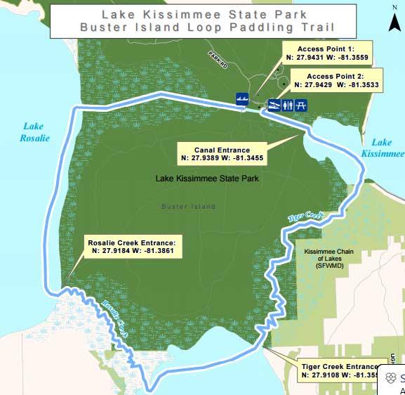 Map of Buster Island Loop Paddling Trail.