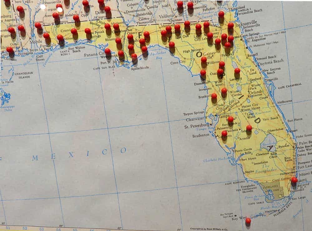A map at the Civilian Conservation Corps Museum at Highland Hammock State Park shows the sites of CCC projects in Florida, which included a number of projects outside the state park system.