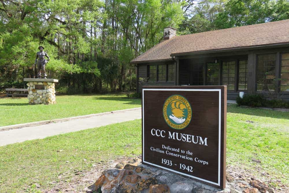 Exterior of Civilian Conservation Corps Museum at Highland Hammock State Park.