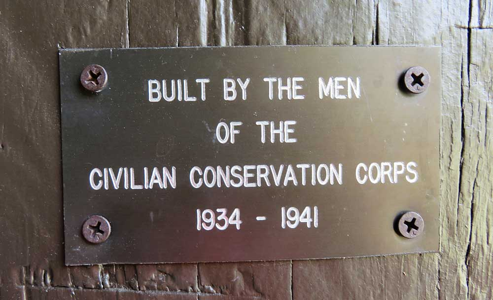 A plaque marking a building by the Civilian Conservation Corps at Highland Hammocks State Park.