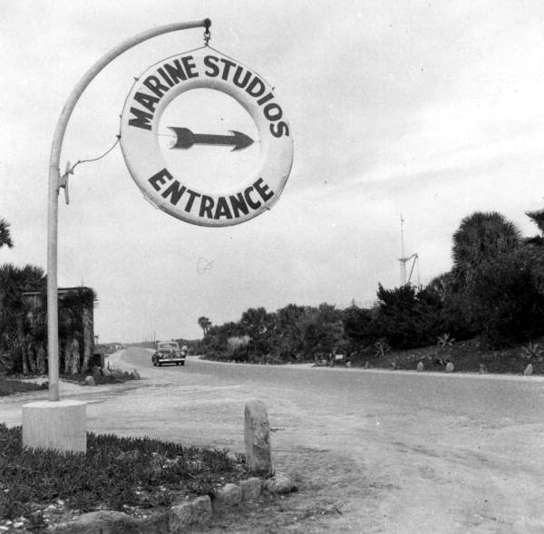View of the entrance sign to Marine Studios - Marineland, Florida. 1946. State Archives of Florida, Florida Memory.