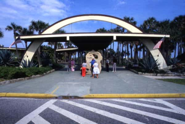 Visitors at the entrance to the Marineland attraction. State Archives of Florida, Florida Memory.