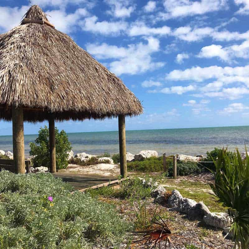 After Hurricane Irma in 2017, Long Key State Park built a picturesque chickee hut overlooking the beach. (Photo: Bonnie Gross)