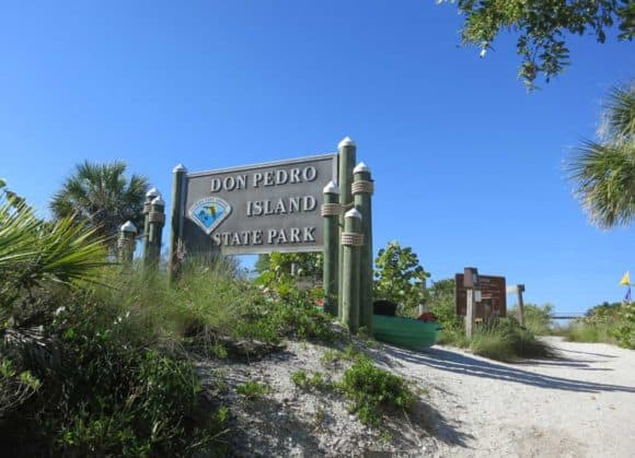 Entrance to Don Pedro Island State Park, reachable only by boat.