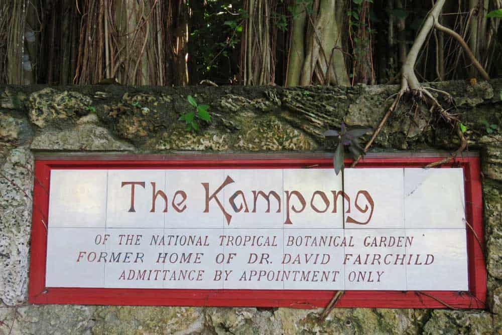 Sign at the Kampong in Coconut Grove.