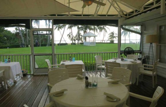 The dining area of the Tarpon Lodge overlooking the water on Pine Island.