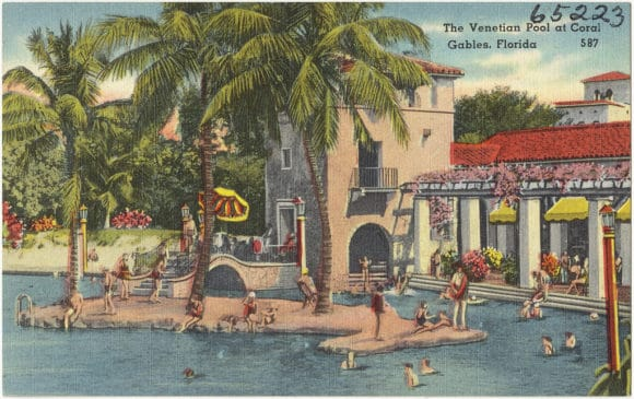 Vintage postcard of Venetian Pool in Coral Gables.