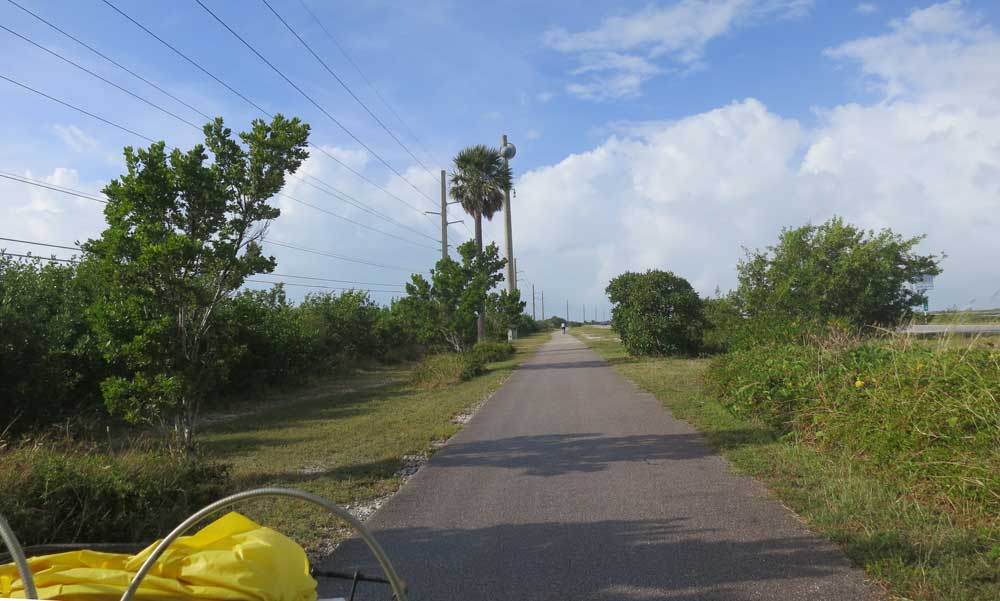 Biking in Key West:  View over the handlebars on the Florida Keys Overseas Heritage Trail.