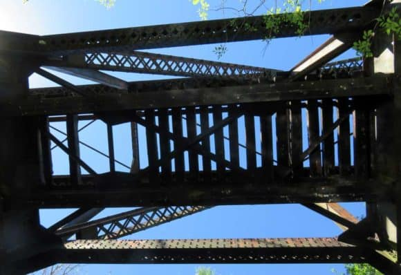 Looking up into the old railroad trestle with a few missing ties near Little Manatee River State Park.