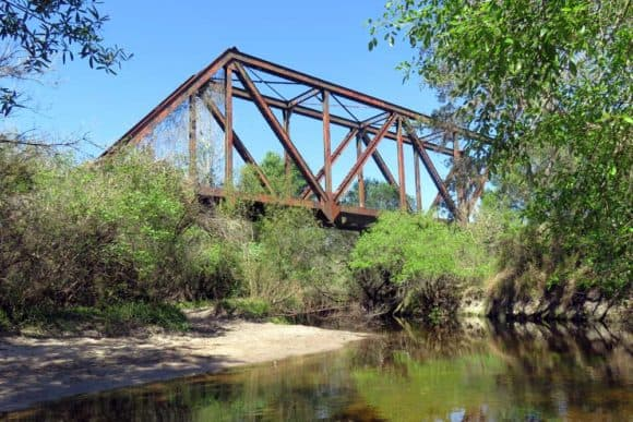 Along Little Manatee River State Park: An antique train trestle on the Little Manatee River is a good place for a lunch break. (Photo: Bonnie Gross)