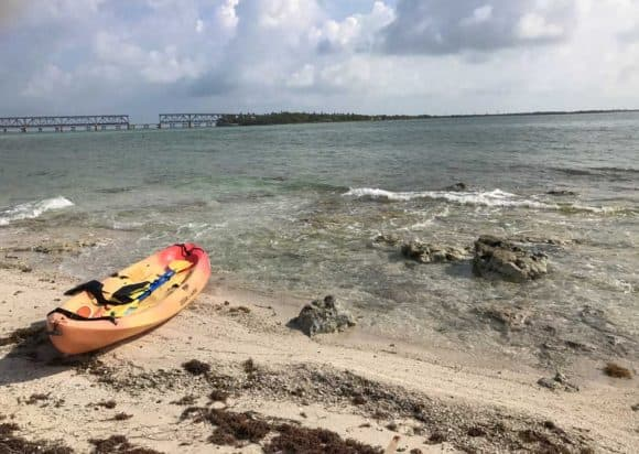 Kayaking Bahia Honda State Park: The view looking back at the park from Little Bahia Honda island. (Photo: Bonnie Gross)