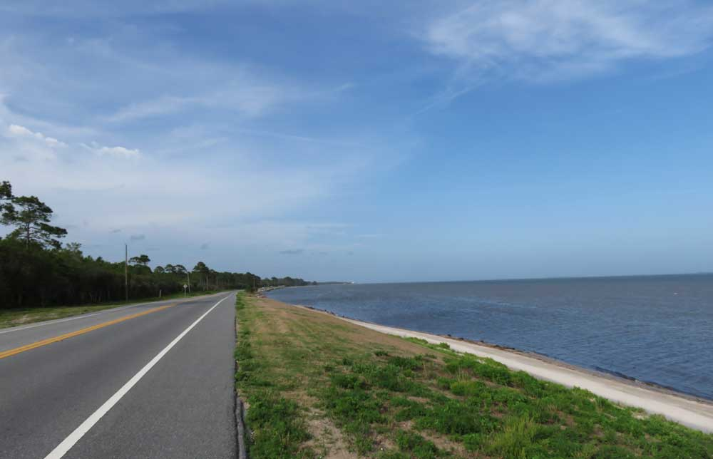 The most scenic section of the Big Bend Scenic Byway is the 40-mile stretch between Bald Point State Park and Apalachicola where the road hugs the coastline. (Photo: Bonnie Gross)