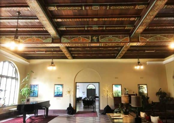 TThe most special feature at the Wakulla Springs Lodge inside Wakulla Springs State Park is the spectacular painted beamed ceiling