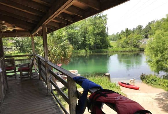 The view from the deck of the Wakulla River outfitter, T-n-T Hideaway, (Photo: Bonnie Gross)