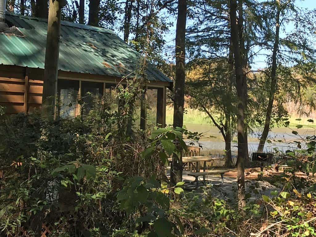 cabin in the campground at Three Rivers State Park.