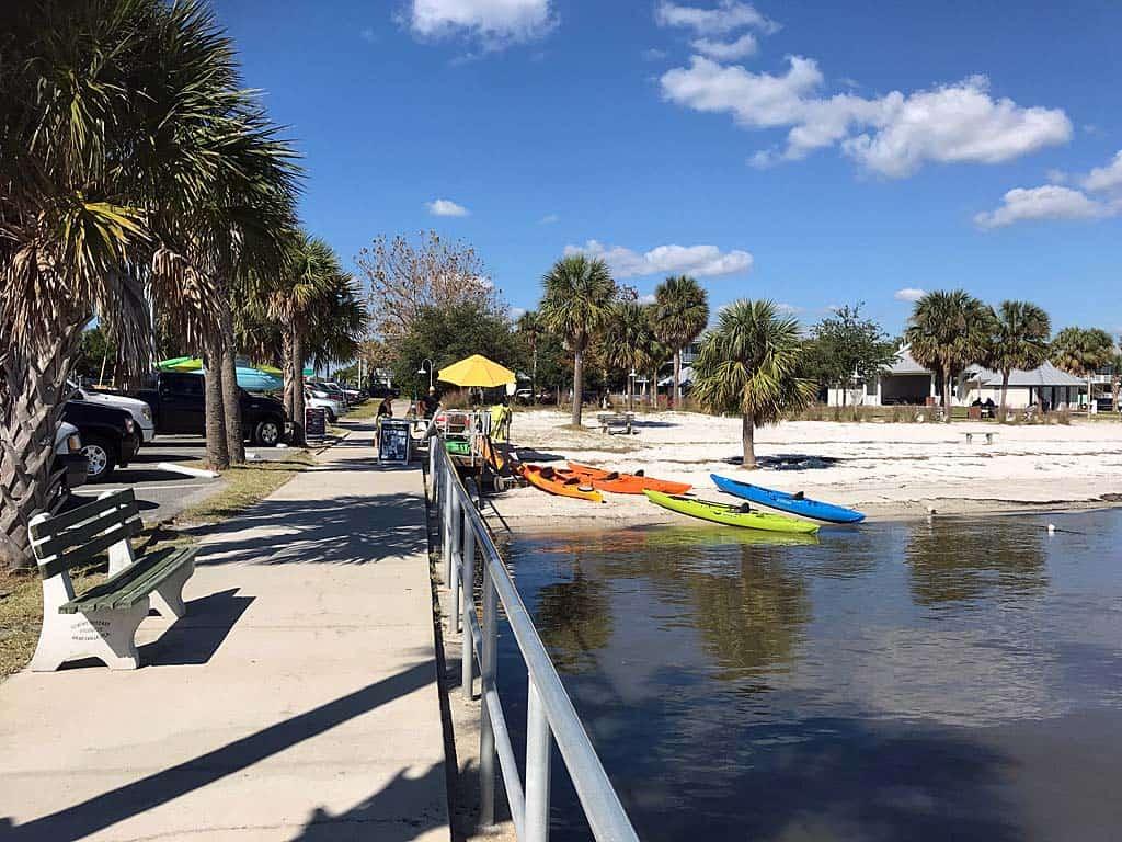 Beach kayak launch area in Cedar Key.