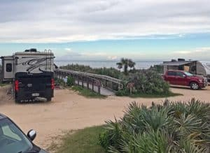 Beachfront campground at Gamble Rogers State Park