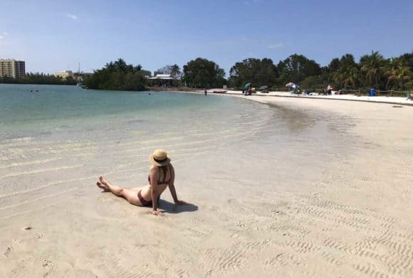 Beach at Oleta River State Park is perfect for kids because it is shallow and calm. (Photo: Bonnie Gross)