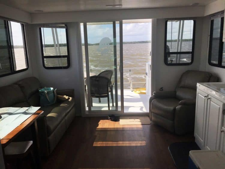 Houseboat rentals Florida: View through the living/dining/kitchen area of the houseboat in Everglades National Park (Photo: Bonnie Gross)
