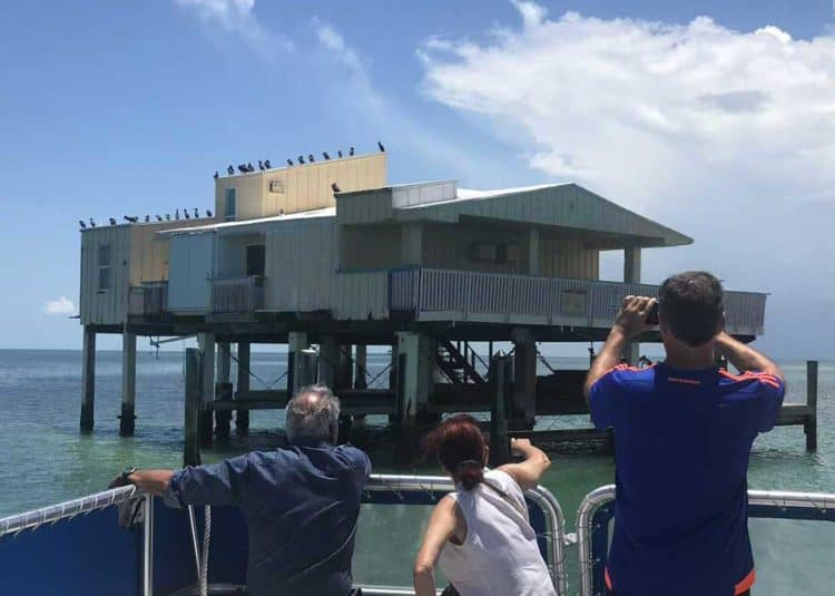 The Baldwin-Sessions House viewed from a boat on the Stiltsville Miami tour.