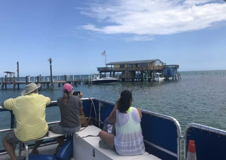 The Stiltsville house that seemed to be in the best shape was the own leased by the Miami Springs Power Squadron, which includes many police and firement. (Photo: Bonnie Gross)