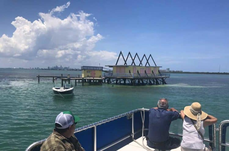 The A Frame House in Stiltsville: The triangular pieces were salvaged from a Key Biscayne Church. (Photo: Bonnie Gross)