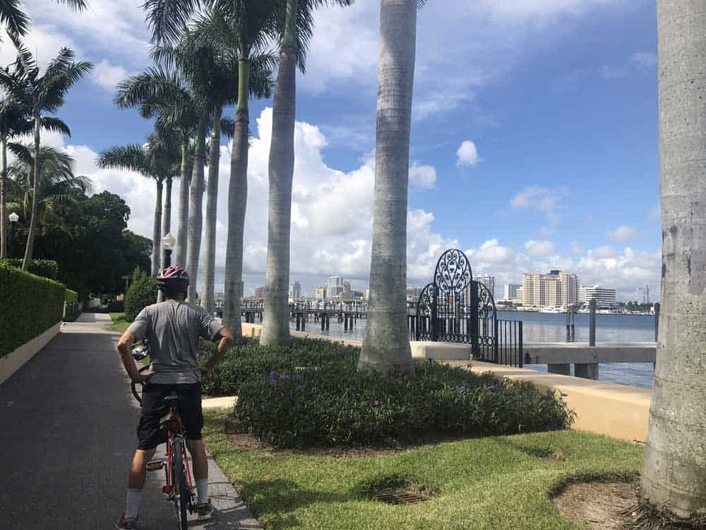 Across the peaceful waters of Lake Worth, you see the skyline of West Palm Beach from the Palm Beach Lake Trail. (Photo: Bonnie Gross)