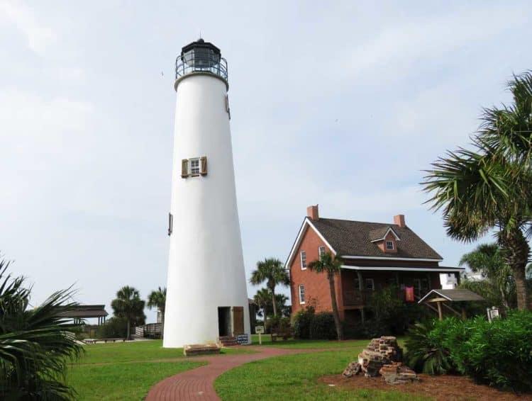 Florida lighthouses along Big Bend: St. George Lighthouse: Rebuilt with original bricks. (Photo: Bonnie Gross)