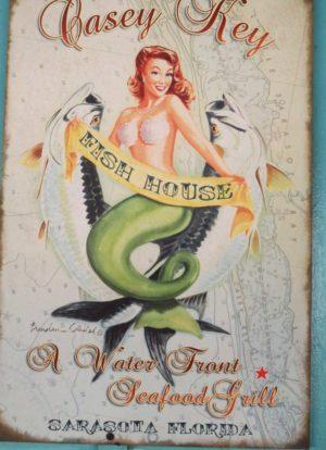 Mermaid sign at Casey Key Fish House.