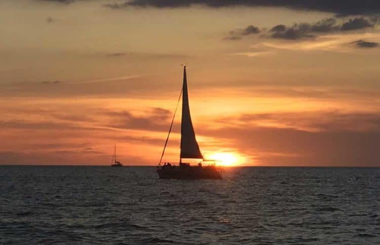 Sailboat with sunset.