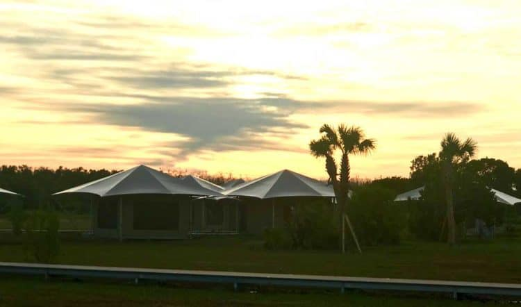 Eco-tents at sunset at Flamingo in Everglades National Park.