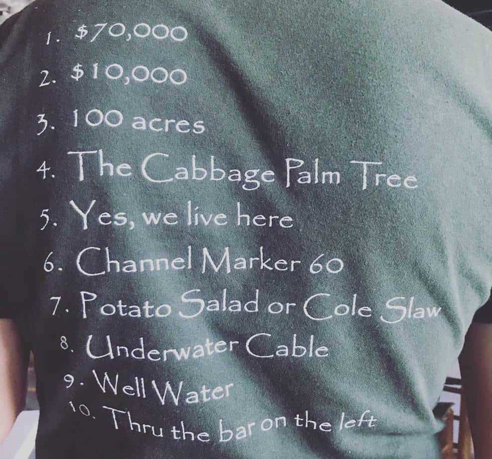 At lunch at Cabbage Key Inn, servers where T-shirts with the answers to the most commonly asked questions on back. (Photo by Bonnie Gross)