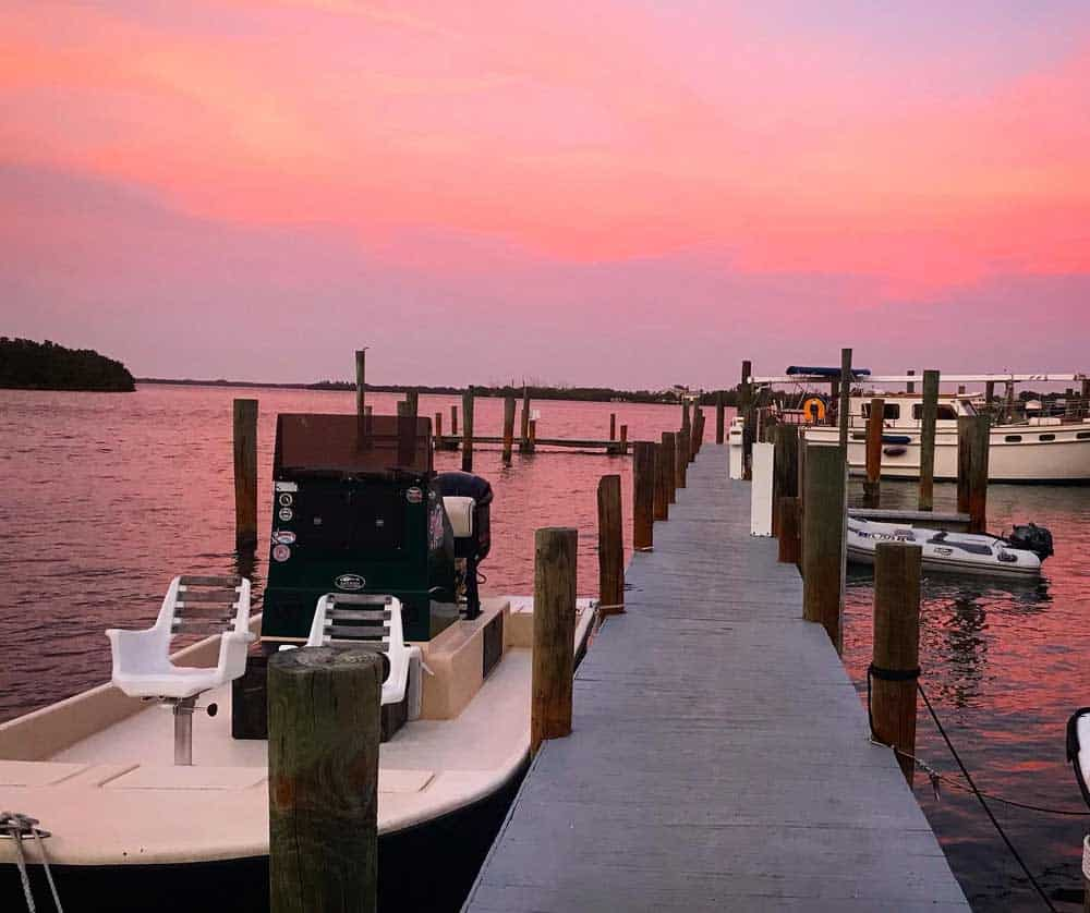Sunset at the dock at Cabbage Key. (Photo by Bonnie Gross)