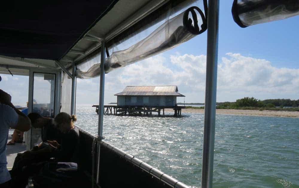 Fish shack off Noth Captiva Island, part of the scenic boat ride when visiting Cabbage Key. (Photo by Bonnie Gross)