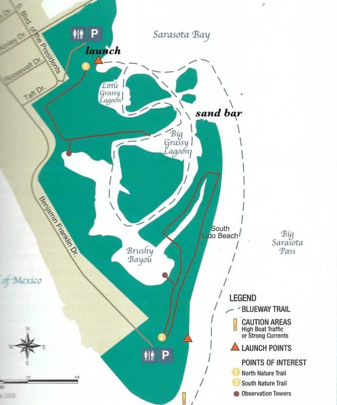 Map of Lido Key Mangrove Trail