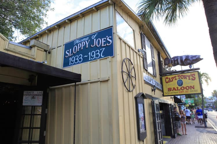 Hemingway in Key West: The original Sloppy Joe's is now Capt. Tony's Saloon.