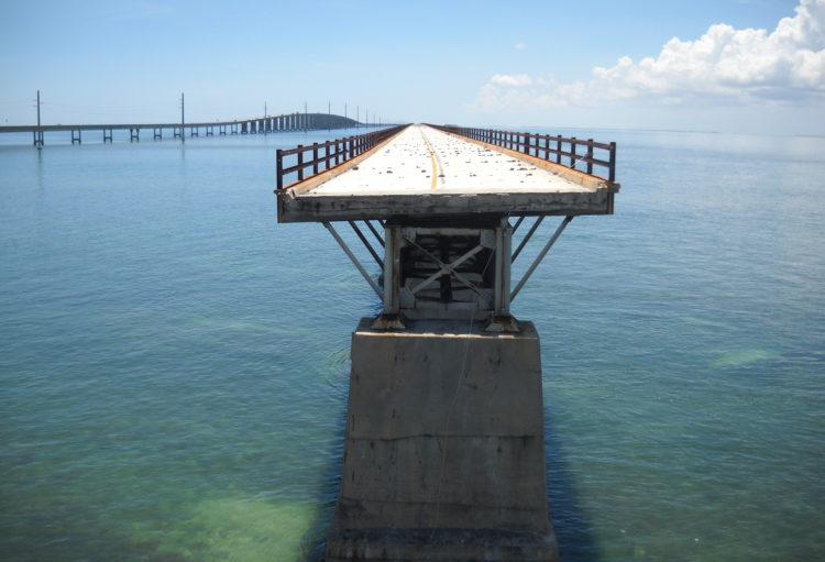 This gap in the Old Seven Mile Bridge, just south of Pigeon Key, prevents folks from reaching the other 5.8 mile section. (Photo: Bonnie Gross)