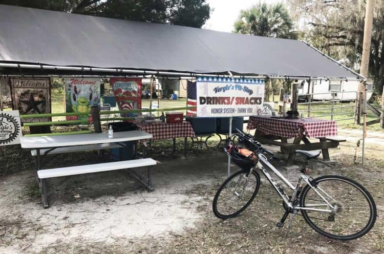 The only place to get a snack or beverage along the long, rural section of the East Central Rail Trail is this help-yourself honor-system stop, Vergie's Pit Stop. (Photo: Bonnie Gross)