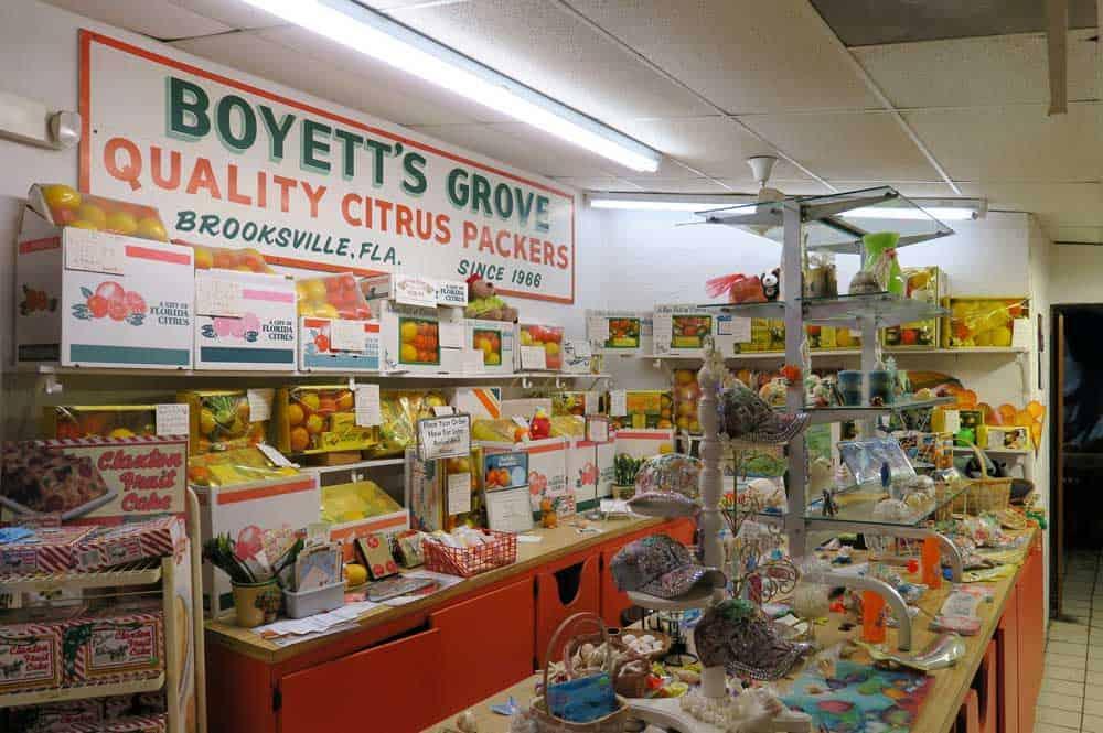 Florida roadside attractions: The gift shop at Boyett's Citrus in Brooksville. (Photo: Doug Alderson.)