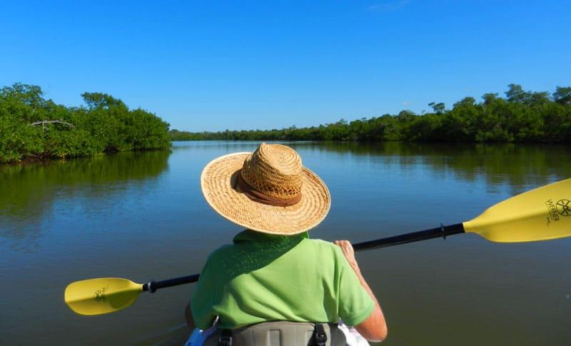 Sanibel Island kayaking: Buck Key kayak trail starts with a crossing Lloyd's Lagoon.