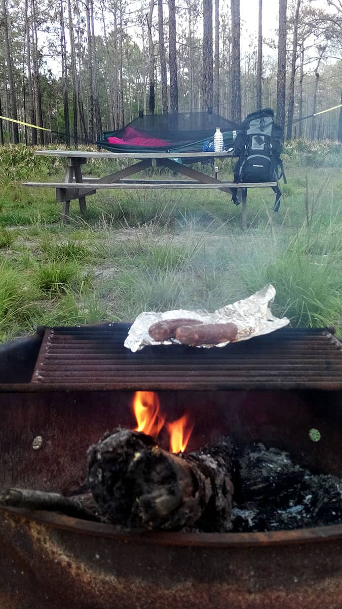 Dinner on the grill at Colt Creek State Park