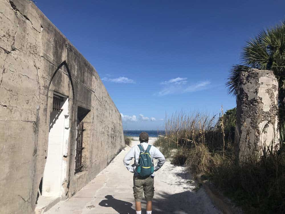 Fort Dade on Egmont Key is on the left, with a view of the waters of Tampa Bay and the Gulf. (Photo: Bonnie Gross)