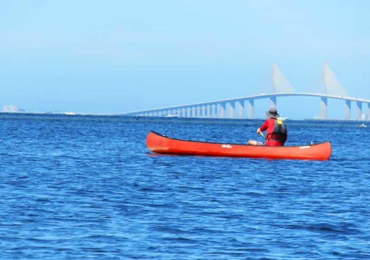 Emerson Point Preserve in Palmetto: paddling a kayak in the Terra Ceia Bay with spectacular views of the Sunshine Skyway Bridge. (Photo: David Blasco)