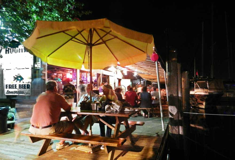 Hogfish Grill in Key West: Patrons can sit inside the large chickee hut or dockside. (Photo: David Blasco)