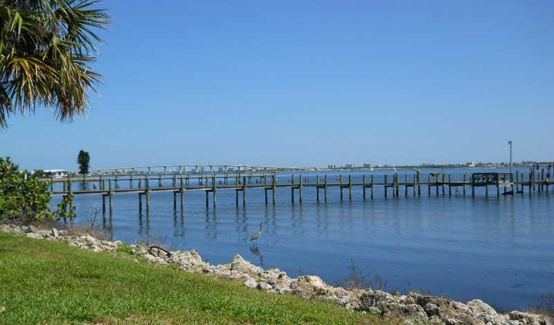 Indian River Lagoon pier Old Florida scenic drive: Fort Pierce to Jensen Beach